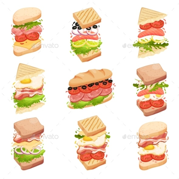 Sandwiches Collection. Different Forms - Food Objects