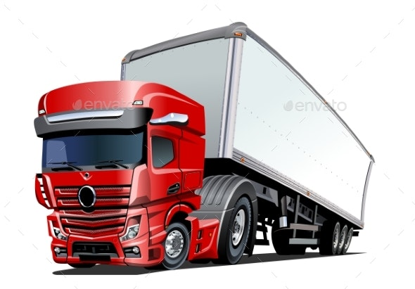Cartoon Cargo Semi Truck Isolated on White - Man-made Objects Objects