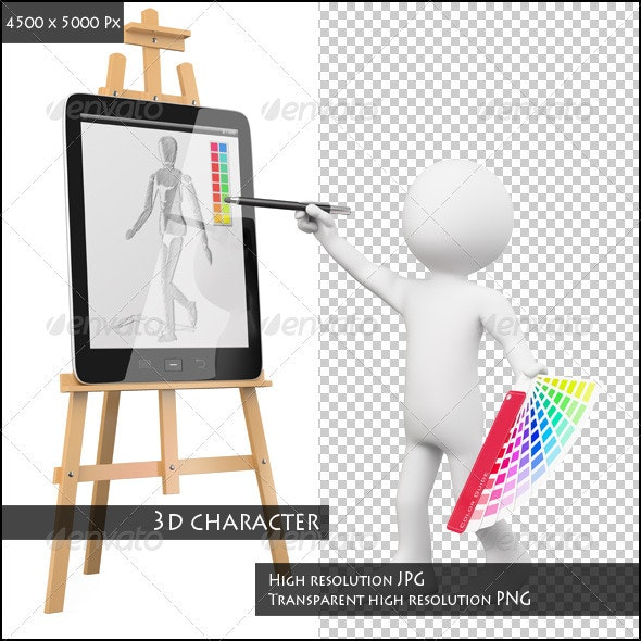 3D Artist Painting in a Tablet - Characters 3D Renders