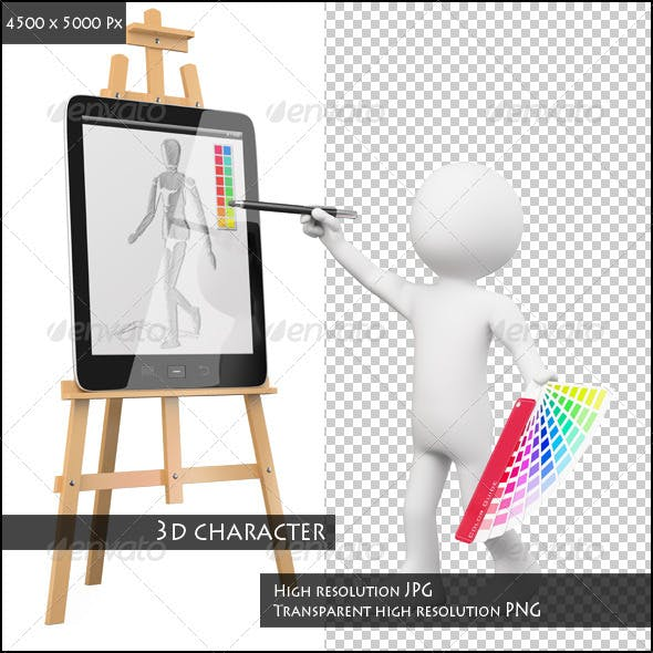 3D Artist Painting in a Tablet