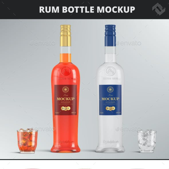 Brandy Vodka Rum Bottle Mockup