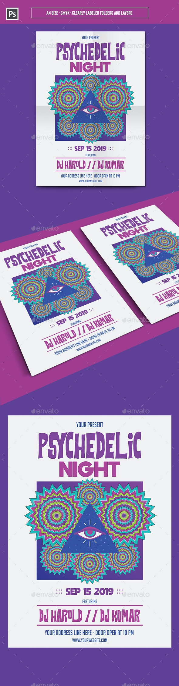 Psychedelic Night Flyer Template - Events Flyers