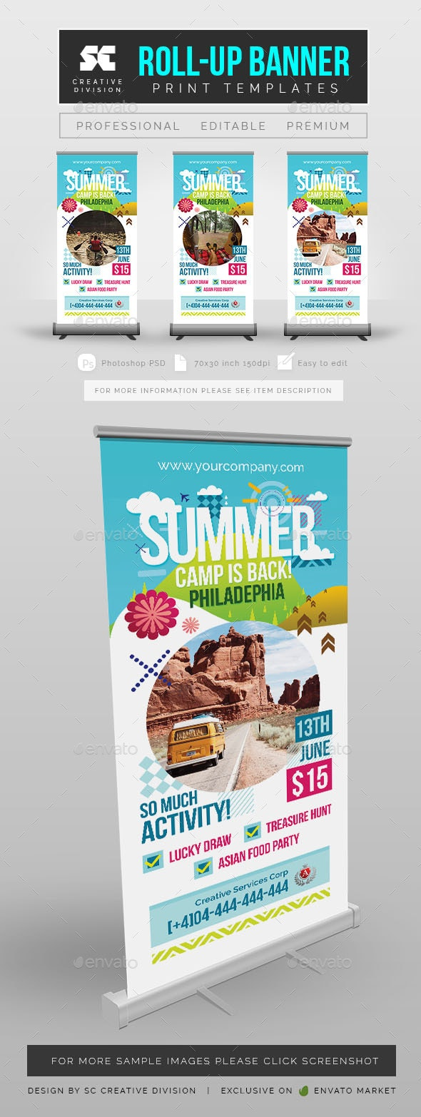 Summer Camp Roll Up Banner Template - Signage Print Templates