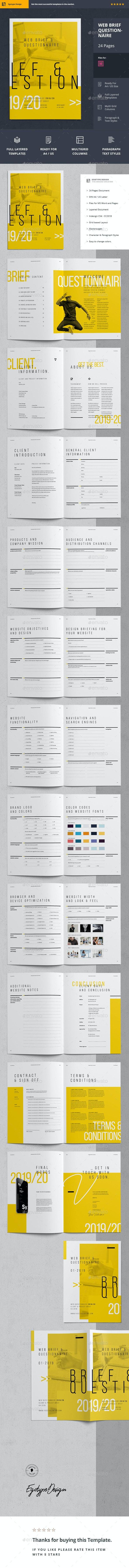 Web Brief Questionnaire - Informational Brochures