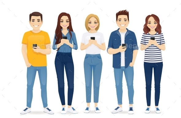 Young People with Gadgets - People Characters