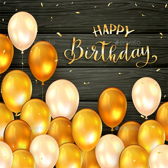 Black Wooden Background with Golden Birthday Balloons and Confetti - Birthdays Seasons/Holidays