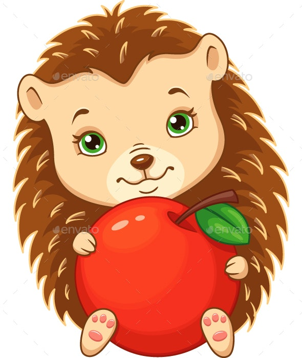 Hedgehog with Apple - Animals Characters