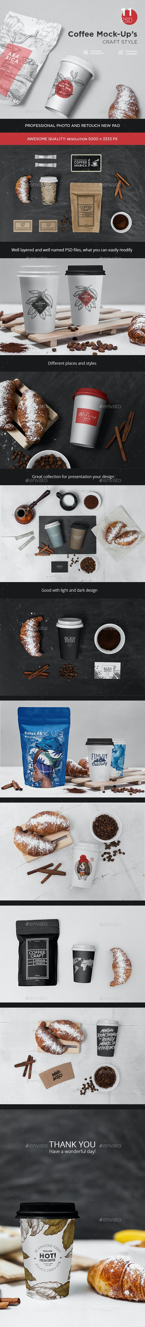Coffee Mock-Up's Craft Style - Product Mock-Ups Graphics