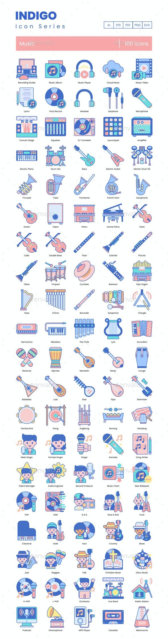 Music Icons - Indigo Series - Miscellaneous Icons