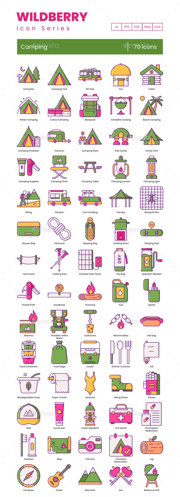 Camping Icons - Wildberry Series - Miscellaneous Icons