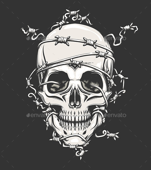 Human Skull in Barbed Wire - Tattoos Vectors