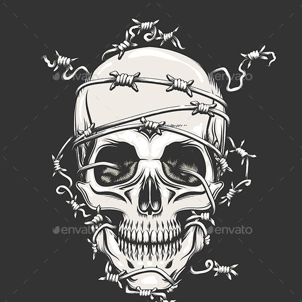 Human Skull in Barbed Wire