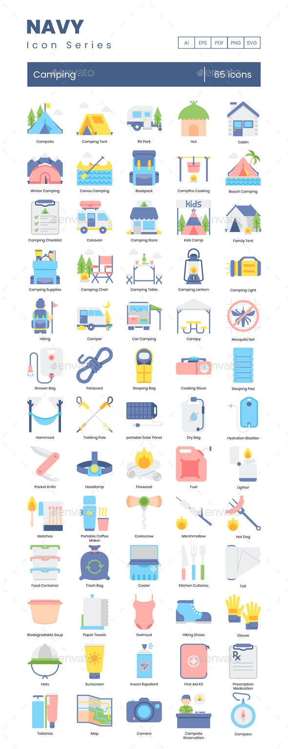 Camping Icons - Navy Series - Miscellaneous Icons