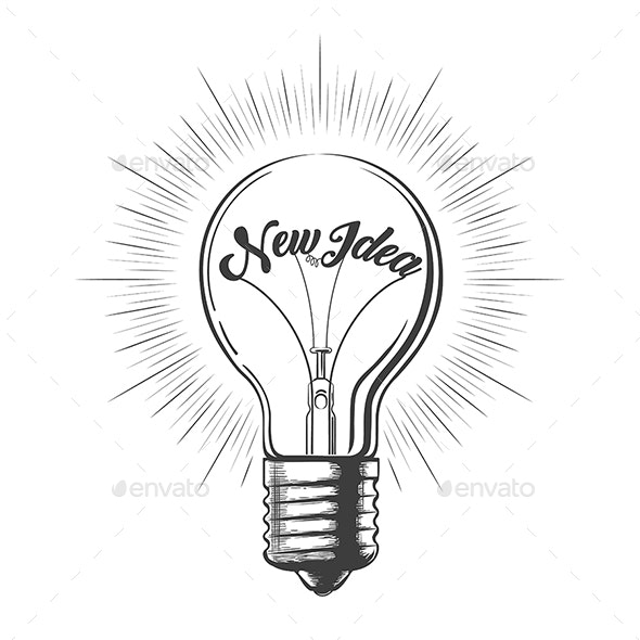 Light Bulb with Wording New Idea in Engraving Style - Tattoos Vectors