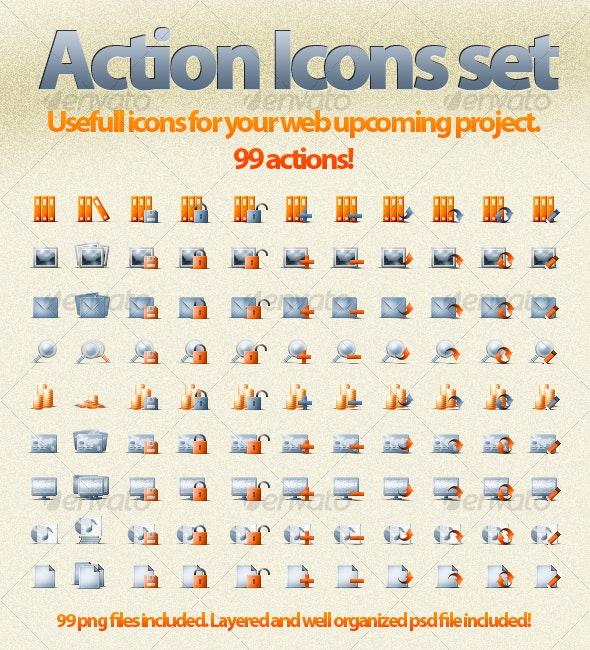 Web Action Icons Set! - Web Icons