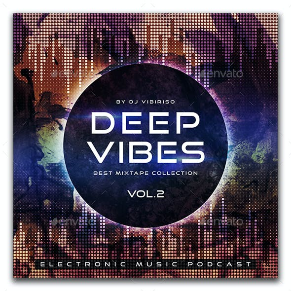 Deep Vibes Electronic Music Album Cover Artwork Template