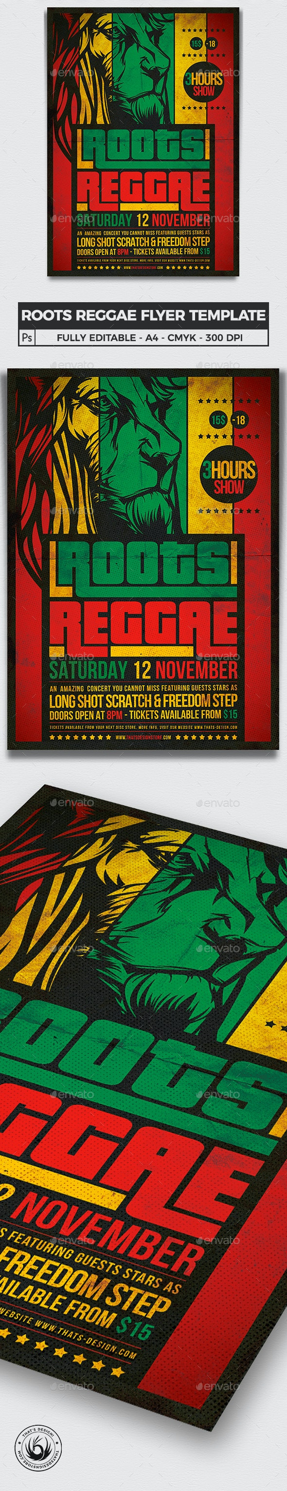 Roots Reggae Flyer Template - Concerts Events