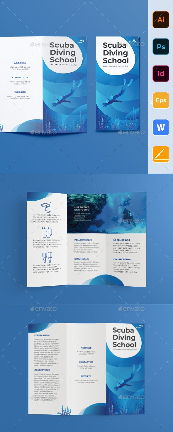 Diving School Trifold Brochure - Corporate Brochures