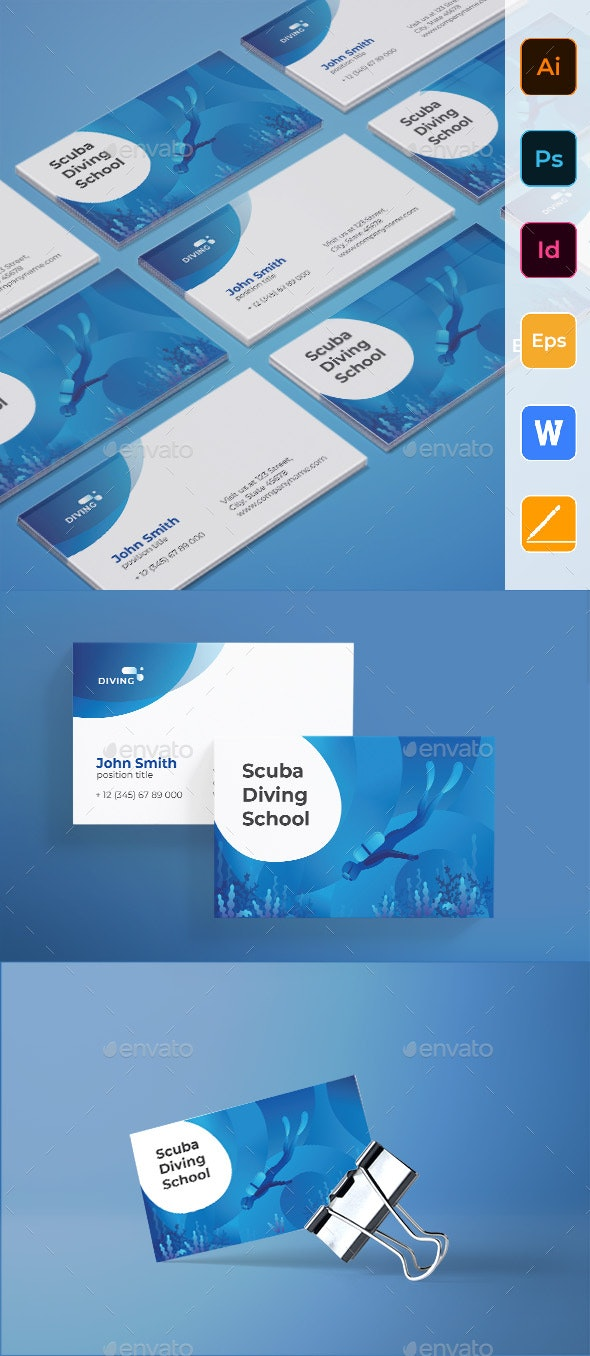 Diving School Business Card - Corporate Business Cards