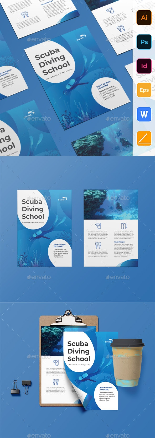 Diving School Flyer - Corporate Flyers