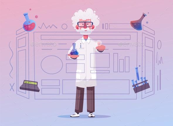 Smart Scientist Character Cartoon Vector - People Characters