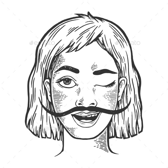 Happy Woman with Long Mustache Sketch Engraving - People Characters