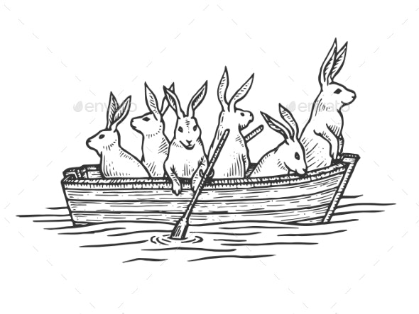 Hare Animals in Boat Sketch Engraving Vector - Animals Characters