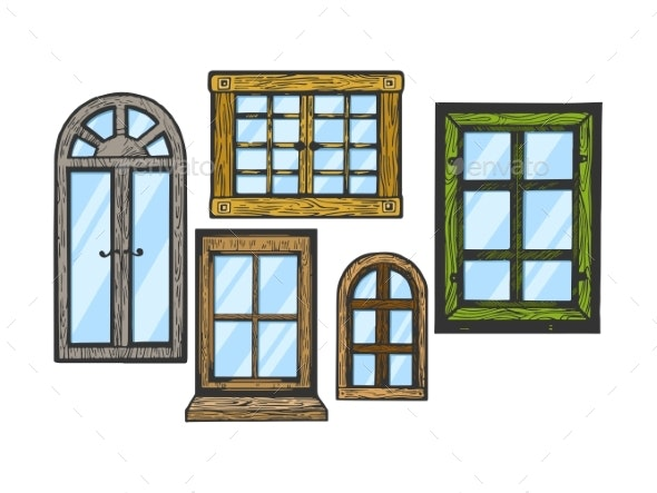 Windows Wooden Color Sketch Engraving Vector - Man-made Objects Objects