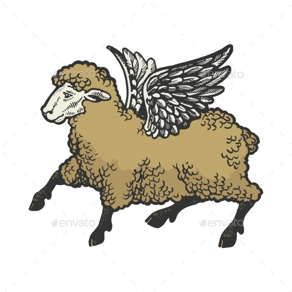 Angel Flying Sheep Color Sketch Engraving Vector - Miscellaneous Characters
