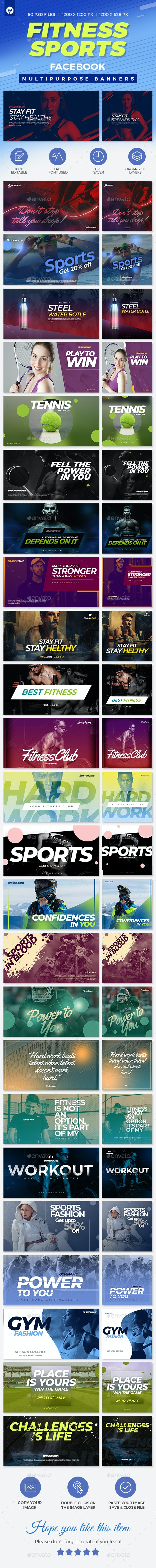 50 Facebook Sports & Fitness Banners - Social Media Web Elements