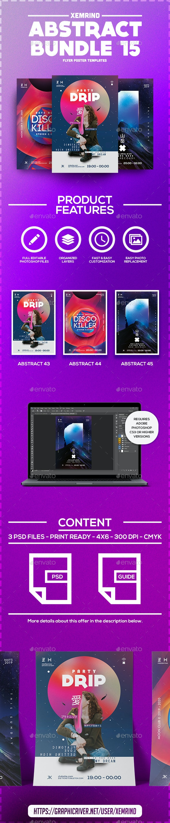Abstract Flyer/Poster Template Bundle 15 - Clubs & Parties Events
