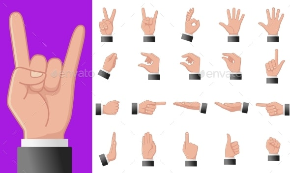 Various Gestures of Human Hands Isolated - Miscellaneous Vectors