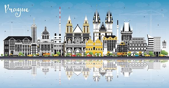 Prague Czech Republic City Skyline with Color Buildings - Buildings Objects