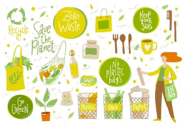 Zero Waste Vector Set with Eco Life Elements - Miscellaneous Vectors