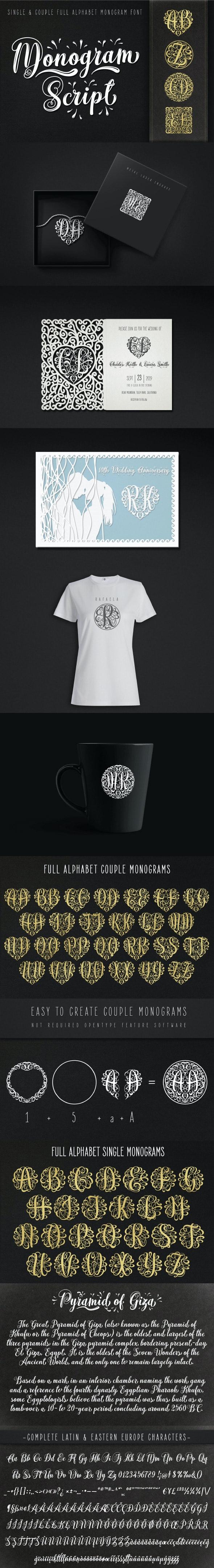 Monogram Script | Full Alphabet Single & Couple Monograms - Calligraphy Script