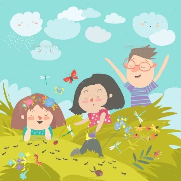 Cartoon Kids Look at Insect in Grass - People Characters