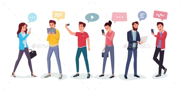 Cartoon People Chatting Via Internet - Communications Technology