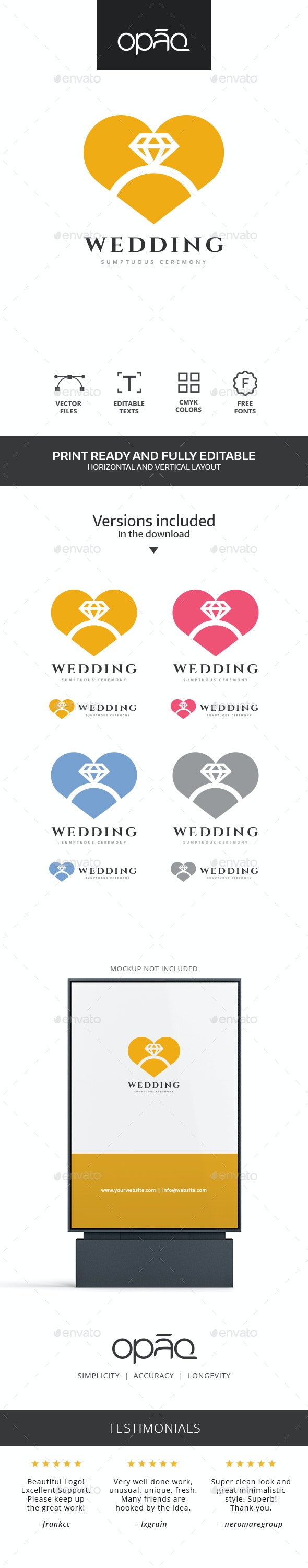 Wedding Ring Heart Logo - Symbols Logo Templates