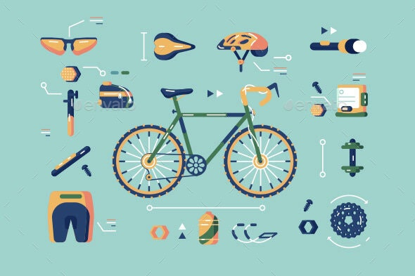 Bicycle Equipment for Cycling Set - Man-made Objects Objects