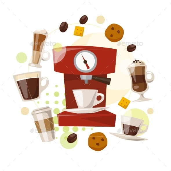 Vector Design with Coffee and Sweets Elements - Food Objects