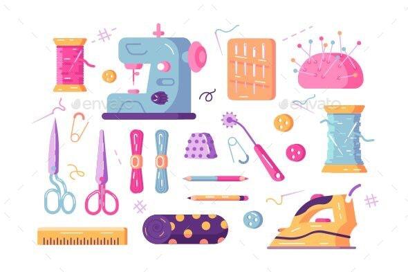 Sewing Supplies Set - Miscellaneous Vectors