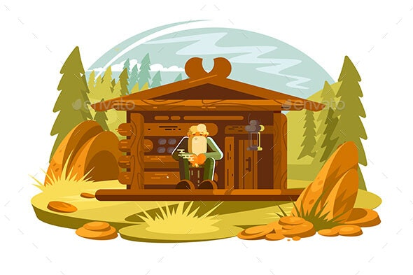 Forester Sitting on Porch - People Characters