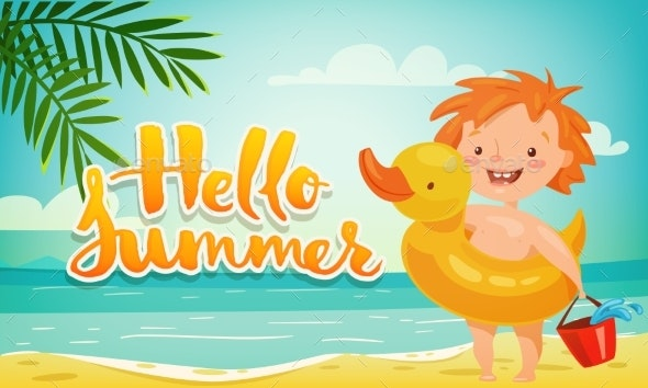 Vector Hello Summer Vacation Motivational Poster - Seasons Nature