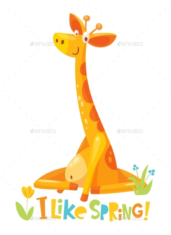 Vector Giraffe Character with Flowers - Animals Characters