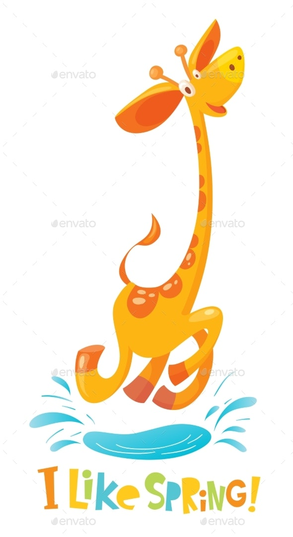 I Like Spring Vector Illustration with Giraffe - Animals Characters