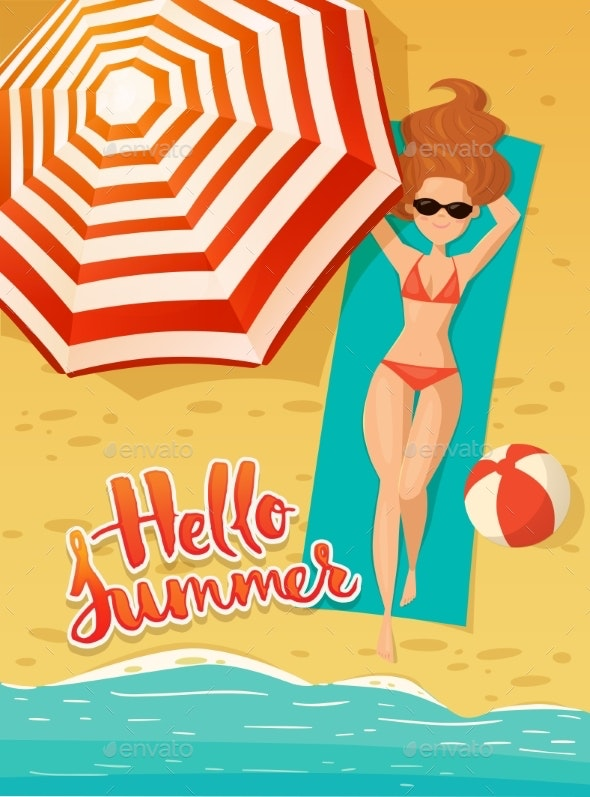 Vector Card with Hello Summer Text and Young Woman - People Characters