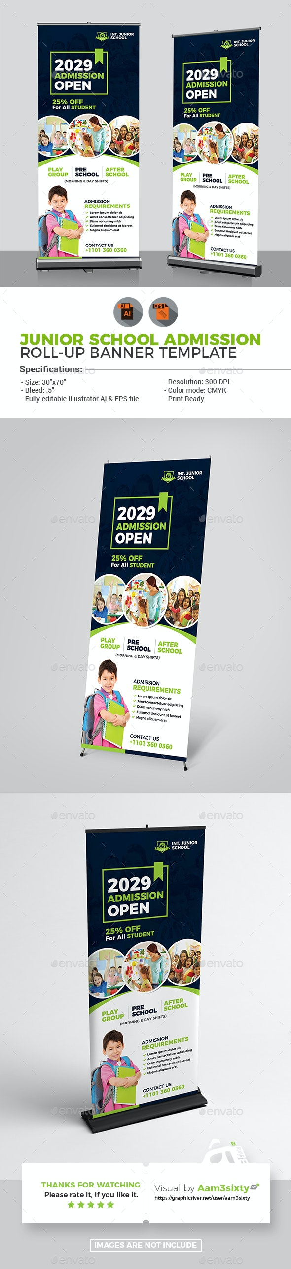 Junior School Admission Poster Rollup - Signage Print Templates