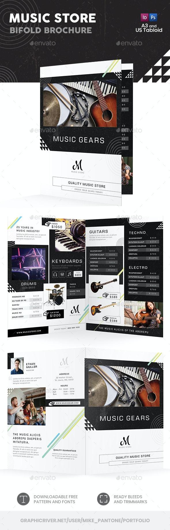 Music Store Bifold / Halffold Brochure - Informational Brochures