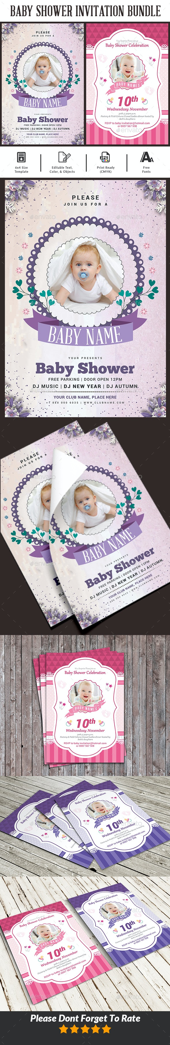 Baby Shower Invitation Bundle Templates - Cards & Invites Print Templates