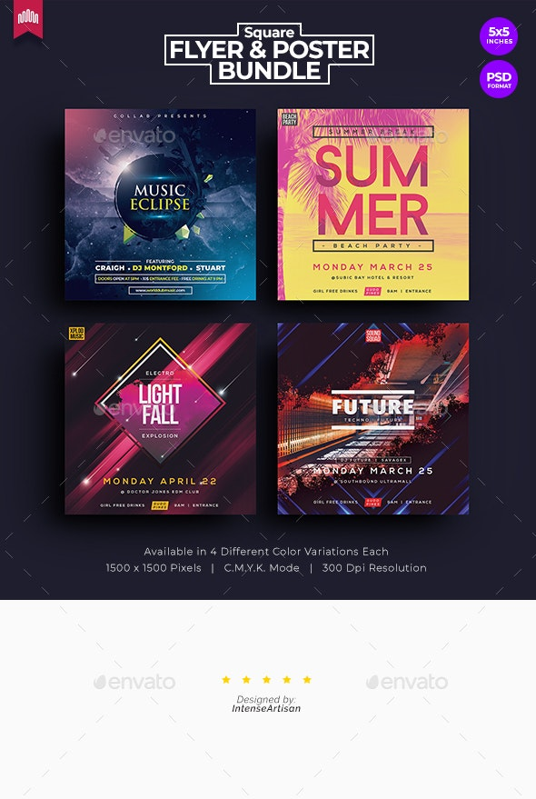 4in1 Square Flyer - Bundle 1 - Clubs & Parties Events